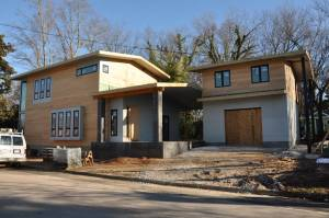 The Cherry/Gordon house, under construction, draws inspiration from Craftsman-style houses in the historic neighborhood.