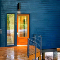 The 2013 Rebecca Hedly House, aka the Blue House, Asheville NC.  Designed by Maria Rusafova of Rusafova Markulis Architects, Asheville.