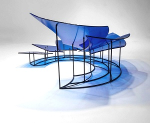 "Steel and glass ""Dragon"" by McConnell Studios for the NC State Bar Assn."