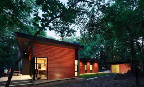 The Aiyyer residence by CUBE Design+Research won first place in the 2015 George Matsumoto Prize design competition for Modernist homes in North Carolina. A vertical zinc wall visually anchors the single-story home. Photo: Richard Leo Johnson